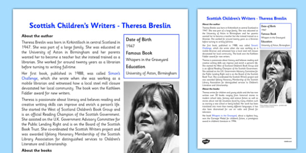 Scottish Children's Writers Theresa Breslin Information Sheet - CfE, Literacy, Scottish Children's Writers, Theresa Breslin