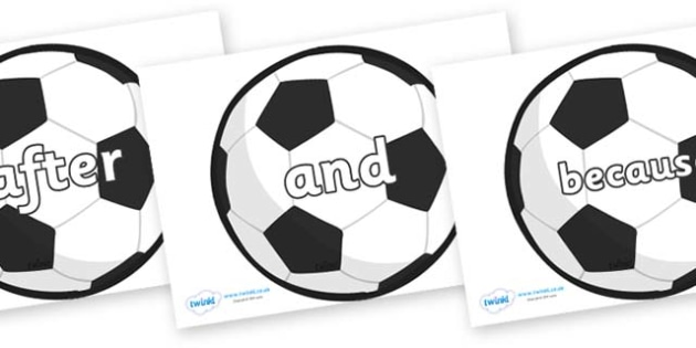 Connectives on Football - Connectives, VCOP, connective resources, connectives display words, connective displays