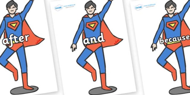 Connectives on Superhero - Connectives, VCOP, connective resources, connectives display words, connective displays