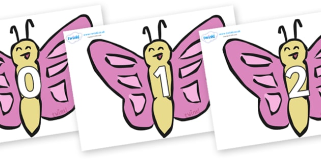 Numbers 0-31 on Butterflies - 0-31, foundation stage numeracy, Number recognition, Number flashcards, counting, number frieze, Display numbers, number posters
