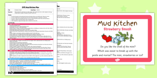 Strawberry Smash EYFS Mud Kitchen Plan and Prompt Card Pack