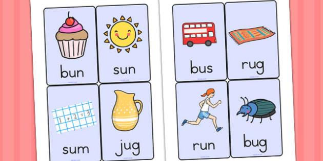 CVC Word Cards U - CVC, CVC words, visual aids, flash cards, U