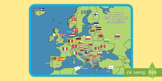 Cartina Europa.Mappa Dell Europa Con Le Bandiere Poster Teacher Made