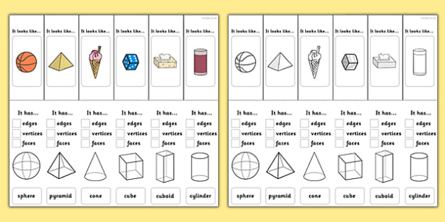 3D Shape Properties Interactive Visual Aids - 3D shapes, shapes, 3D shapes, attributes, face, edge, vertex, sphere, pyramid, cone, cube, cuboid, cylinder