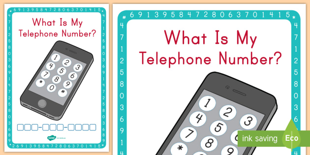 What Is My Telephone Number Worksheet Activity Sheet area