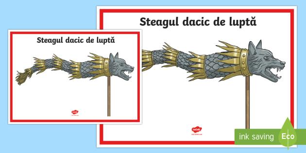 Steagul dacic de luptă Planșă - istoria românilor, daci, elemente ale culturii dacice, steagul dacilor,Romanian