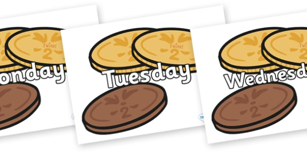 Days of the Week on Chocolate Coins - Days of the Week, Weeks poster, week, display, poster, frieze, Days, Day, Monday, Tuesday, Wednesday, Thursday, Friday, Saturday, Sunday