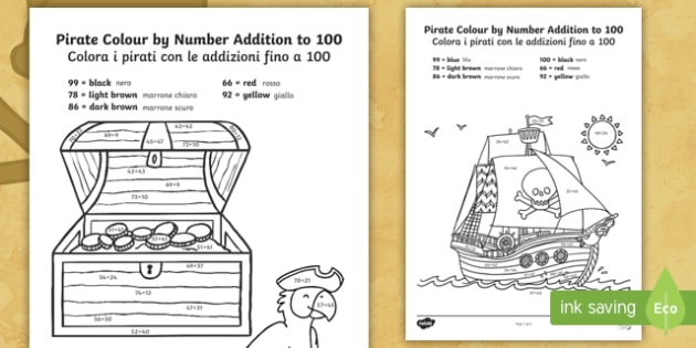 Pirate Themed Addition To 100 Colour By Numbers English Italian