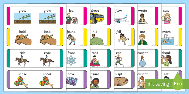 Present and Past Tense Verb Cards - SLI, grammar, ASD, EAL, language disorder, Language delay, Word Order