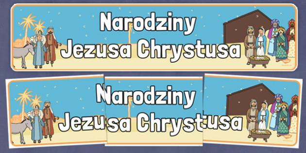 Banner na gazetkę scienną Boże Narodzenie po polsku - Jezus