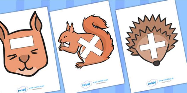 Maths Symbols on Woodland Animals - maths symbols, mathematic symbols, maths on animals, mathematics, math signs