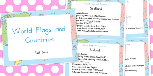 World Flags and Countries Display Fact Cards - Country, Geography