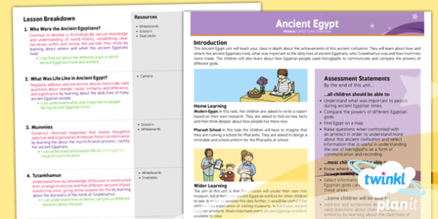 History: Ancient Egypt UKS2 Planning Overview