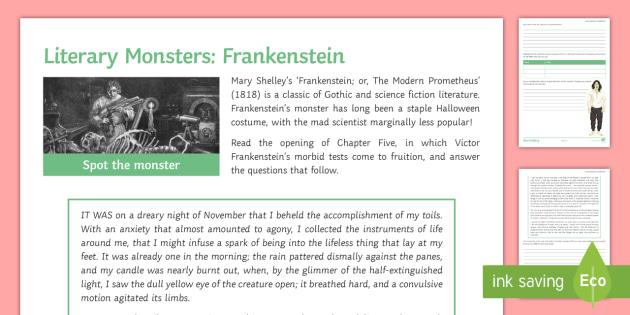 Literary Monsters: Frankenstein Chapter Five Worksheet /
