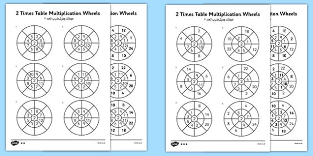 2 Times Table Wheels Activity Sheets Arabic Translation - arabic, multiply, multiplication, times, calculations, maths, mathematics, two times table, worksheet