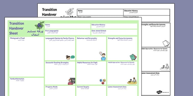 EAL Transition Handover Sheet to a New Class Arabic Translation - arabic