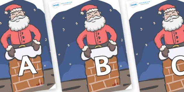 A-Z Alphabet on Santa (Chimney) - A-Z, A4, display, Alphabet frieze, Display letters, Letter posters, A-Z letters, Alphabet flashcards