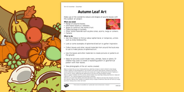 Autumn Leaf Art Worksheet - autumn leaf, art, worksheet, autumn