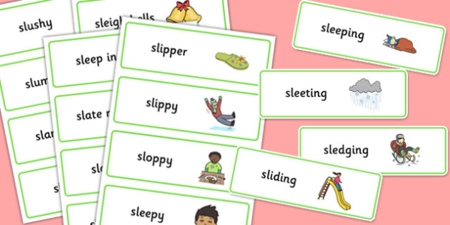 Premise Indicator Words: Two Syllable SL Sound Word Cards