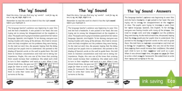 Ay Sound Worksheet Ni Phase 4b Phonics