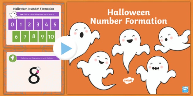 Halloween Themed Number Formation PowerPoint, overwriting