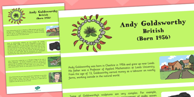 Andy Goldsworthy Fact Sheet - andy goldsworthy, fact, sheet