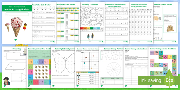 new year 6 summer themed maths activity booklet ks2 y6. Black Bedroom Furniture Sets. Home Design Ideas