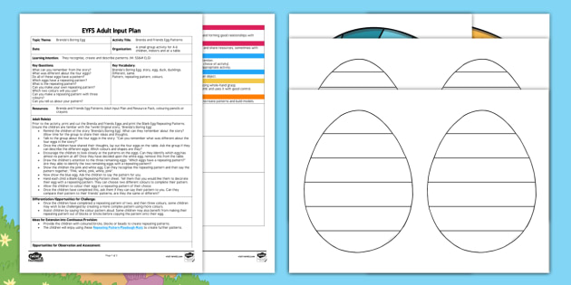 EYFS Brenda and Friends Egg Patterns Adult Input Plan and Resource Pack - brenda's boring egg, twinkl originals, fiction, Mathematics, shape, space and Measure, SSM, twinkl