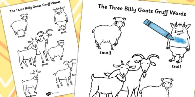 photo about Three Billy Goats Gruff Story Printable known as The 3 Billy Goats Gruff Words and phrases Colouring Sheet - colouring