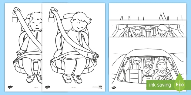 NEW Seatbelt Safety Colouring Pages