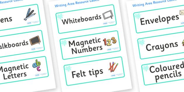 Turquoise Themed Editable Writing Area Resource Labels - Themed writing resource labels, literacy area labels, writing area resources, Label template, Resource Label, Name Labels, Editable Labels, Drawer Labels, KS1 Labels, Foundation Labels, Foundat
