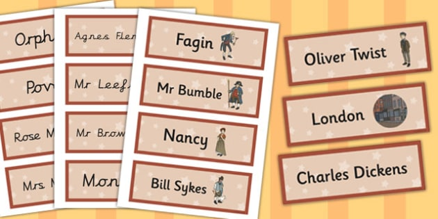 Oliver Twist Word Cards - oliver twist, word cards, cards, word