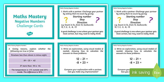 Maths Mastery Negative Numbers Challenge Cards - integer, KS2