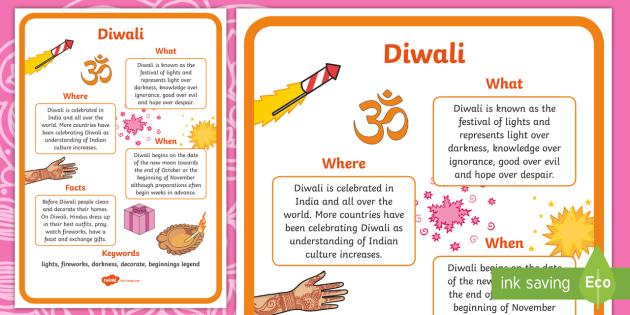Diwali Where When What Poster - diwali, hinduism, religion, RE