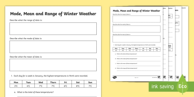 Mode, Mean and Range of Winter Weather Worksheet / Worksheet ...