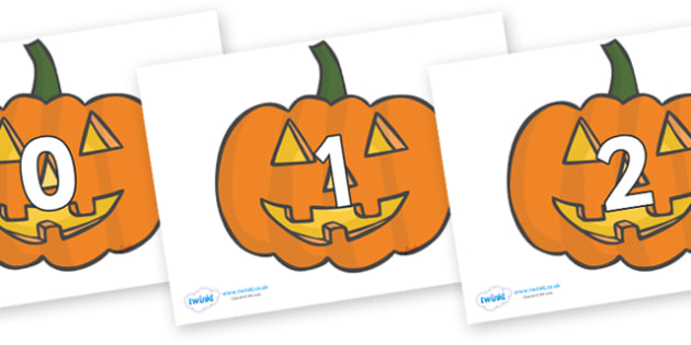 Numbers 0-50 on Jack O'lanterns - 0-50, foundation stage numeracy, Number recognition, Number flashcards, counting, number frieze, Display numbers, number posters