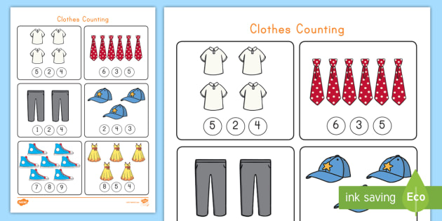 Counting Clothes Worksheet Activity Sheet Number