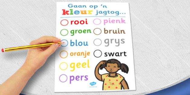 Afrikaans Kleurjag-aktiwiteitsblad - kleur, jag, aktiewitet