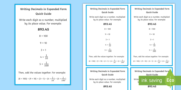Writing Decimals In Expanded Form Quick Guide Decimal Place