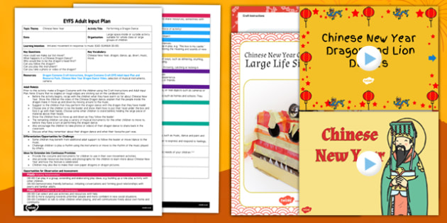 Performing a Dragon Dance EYFS Adult Input Plan and Resource Pack - plans, activity