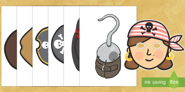 Pirate Themed Photo Booth Role Play Props Activity Pack