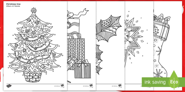 christmas themed mindfulness colouring sheets englishitalian colouring pd fine motor skills