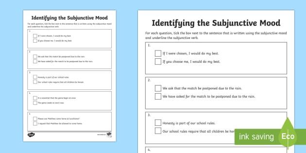 identifying the subjunctive mood worksheet worksheet subjunctive. Black Bedroom Furniture Sets. Home Design Ideas