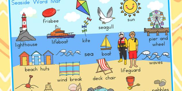 Seaside Scene Word Mat - seaside, sea side, word mat, keywords