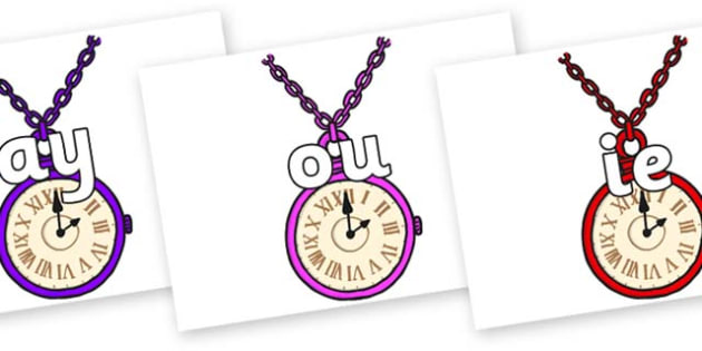 Phase 5 Phonemes on Pocket Watches - Phonemes, phoneme, Phase 5, Phase five, Foundation, Literacy, Letters and Sounds, DfES, display