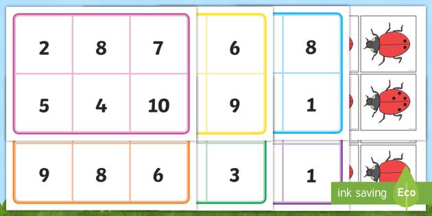 Ladybird Bingo (0-10) - Minibeasts - Ladybird, bingo, number game, 0-10, Number words, Numerals, Foundation Numeracy, Number recognition, Number flashcards , minibeasts, numeracy, numbers, numbers to 10, 1-10, bingo, minibeasts