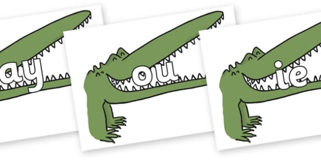 Phase 5 Phonemes on Enormous Crocodile to Support Teaching on The Enormous Crocodile - Phonemes, phoneme, Phase 5, Phase five, Foundation, Literacy, Letters and Sounds, DfES, display