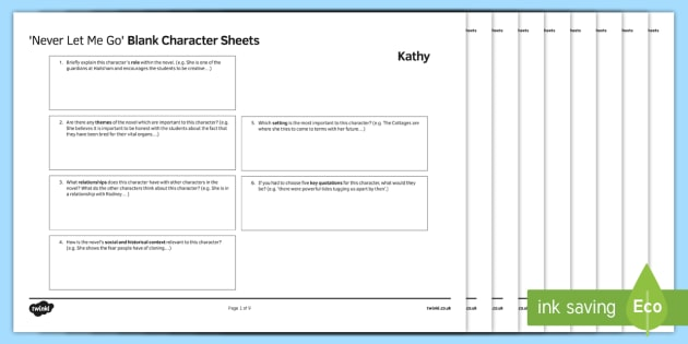 Character Revision Worksheet Activity Sheets To Support