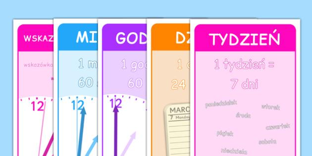 Plakaty Jednostki czasu po polsku - godzina, matematyka - Polish, Poland, EAL, time, maths, clock, clocks, minute, hour, day, week, fortnight, month, year, decade, century, millenium, second, telling, vocabulary, display