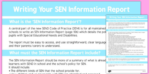 Writing Your SEN Information Report - template, structure, information, senco, classroom organisation, data, slt, smt, senior, adult, parent, dialogue, record, ks1, ks2